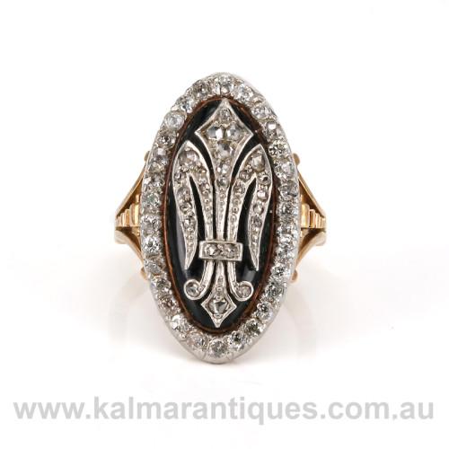 Antique diamond fleur de lis ring
