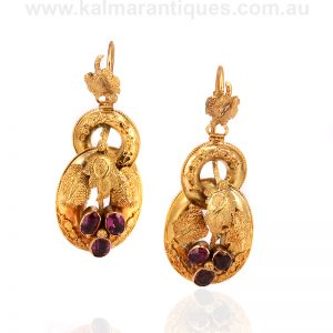 Late Victorian antique earrings set with rhodolite garnets