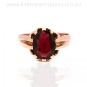 Antique garnet ring made in 15 carat rose gold