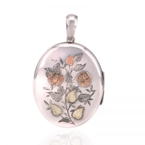 Antique silver, rose and green gold locket made in 1893