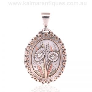 Antique sterling silver, rose and green gold locket