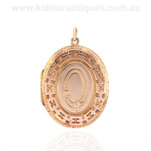 Antique double sided oval locket made in 15 carat gold