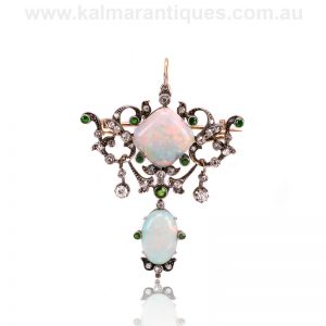 Antique opal, diamond and garnet pendant that converts to a brooch