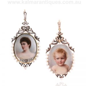 Diamond and pearl double sided antique pendant with hand painted portraits on ivory