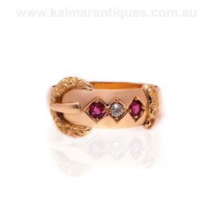18ct antique buckle ring set with rubies and diamonds