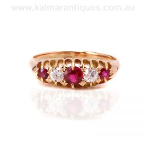 Antique ruby and diamond ring made in the Victorian era
