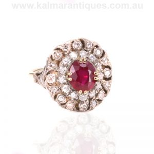 Antique ruby and diamond double cluster ring dating from the 1880's