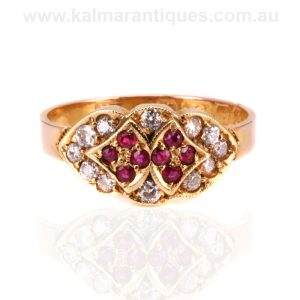 Antique ruby and diamond ring made in 1880