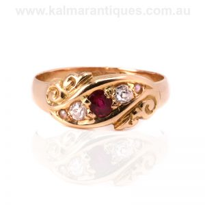 Antique ruby, diamond and pearl ring made in 1916