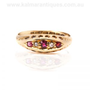 18 carat antique ruby and diamond ring made in 1902