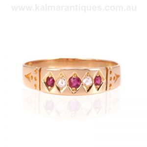 Antique ruby and diamond ring made in Chester in 1890