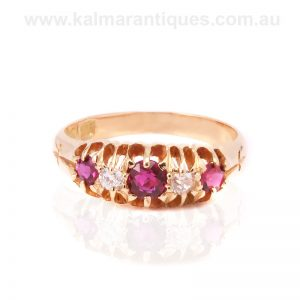 Antique ruby and diamond ring made in the 1890's
