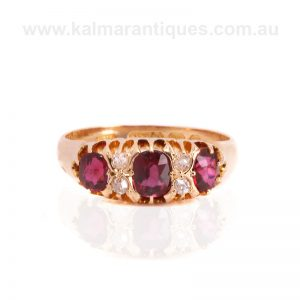 Antique 18 carat yellow gold ruby and diamond ring made in 1897