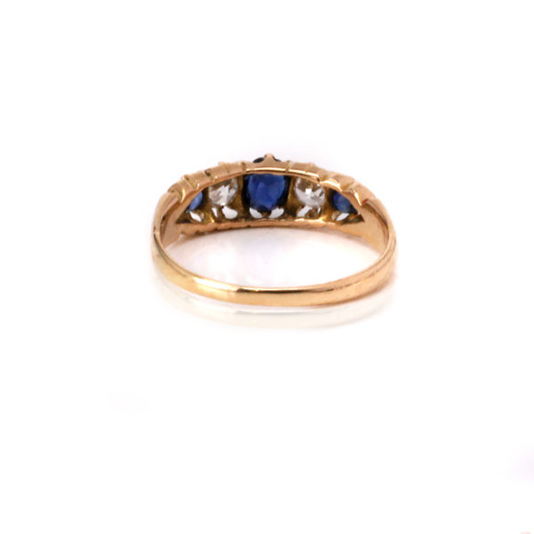 Antique sapphire and diamond engagement ring in 18ct gold
