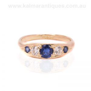 Antique sapphire and diamond engagement ring made in the early 1900's