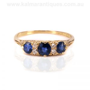 Victorian antique sapphire and diamond ring made in 1896