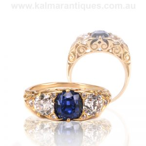 Magnificent 18ct yellow gold antique sapphire and diamond ring