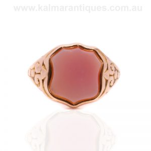 15 carat rose gold antique sardonyx signet ring made in 1868