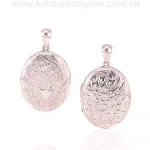 Antique hand engraved sterling silver locket from the Victorian era