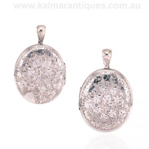Hand engraved antique sterling silver oval photo locket