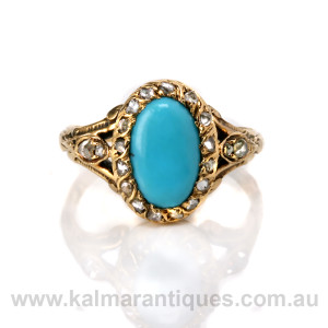 Antique turquoise and diamond cluster ring