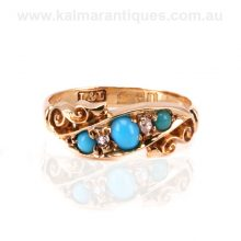 Antique turquoise and European cut diamond ring made in 1910