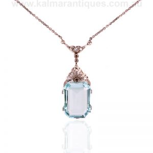 Art Deco aquamarine and diamond necklace made in the 1920's