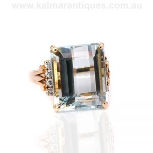 Vintage aquamarine and diamond ring made in 14 carat gold
