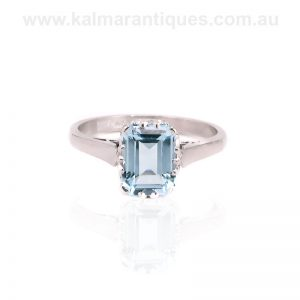 Art Deco platinum aquamarine ring by A.W Crosbee and Sons