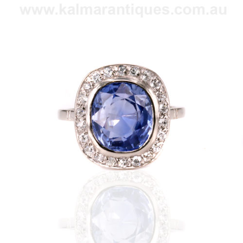 French Art Deco untreated sapphire and diamond ring