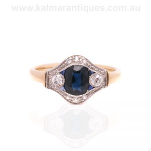 Art Deco sapphire and diamond ring made in the 1920's