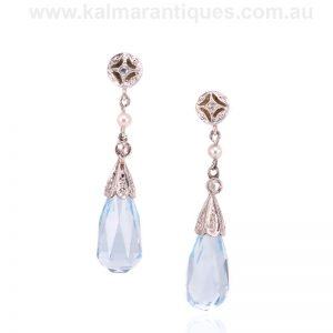Art Deco briolette aquamarine and diamond earrings made in the 1920's