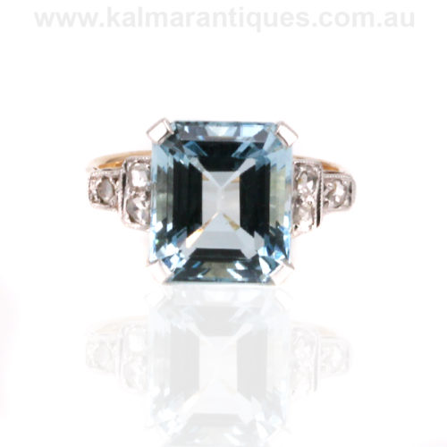 Aquamarine and diamond ring from the Art Deco era