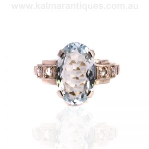 Art Deco aquamarine and diamond ring dating from the 1940's