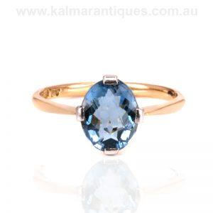 Art Deco aquamarine ring made in the 1920's