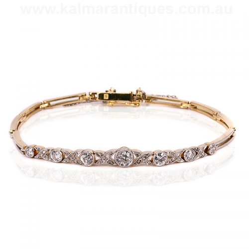 Art Deco 18ct gold and platinum diamond bracelet from the 1920's