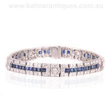 Magnificent Art Deco sapphire and diamond hand made in platinum