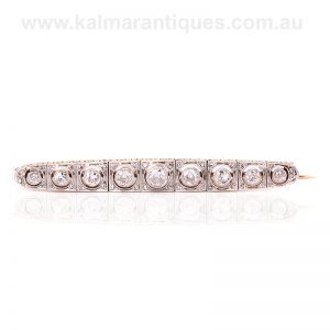 Art Deco diamond brooch set with European and rose cut diamonds