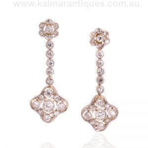 Elegant diamond drop earrings from the Art Deco era