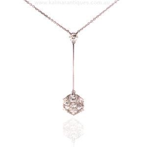 1920's era Art Deco platinum diamond pendant