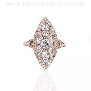 18 carat gold and platinum Art Deco lozenge shaped ring