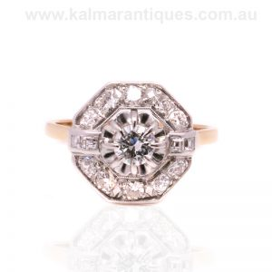 Geometric designed Art Deco diamond ring dating from the 1920's