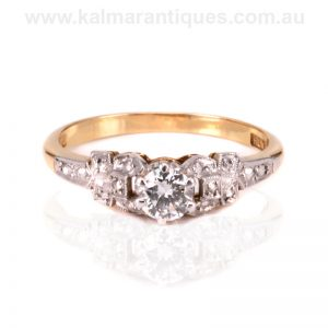 Beautiful hand made Art Deco diamond engagement ring made in the 1940's