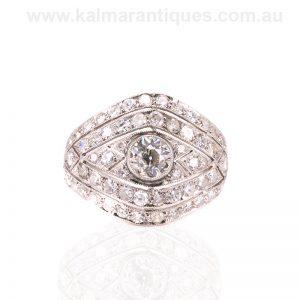 Platinum diamond ring hand made in the Art Deco era
