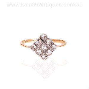 Hand made Art Deco diamond ring made in the 1920's