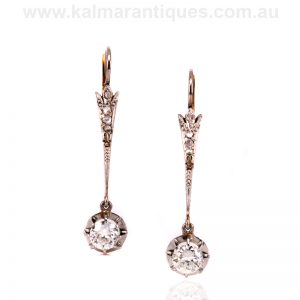 Art Deco diamond drop earrings made in the 1920's
