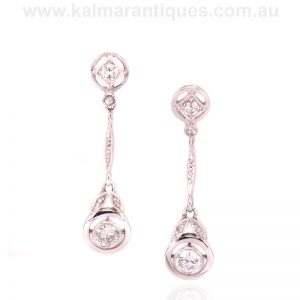 Art Deco diamond drop earrings made in 14 carat gold