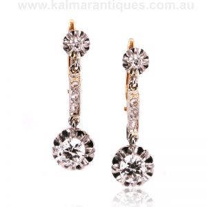 Art Deco diamond drop earrings made in France in the 1920's