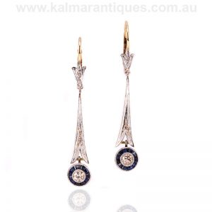 Art Deco sapphire and diamond drop earrings made in the 1920's