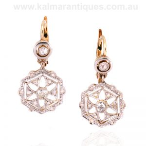 18 carat gold and platinum Art Deco diamond earrings